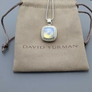 David Yurman 14mm Albion Pendant Enhancer with Moonstone and Necklace 17 in