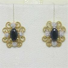 Sapphire & Diamond 9ct Solid Gold Stud Earrings - 30 Day Returns FREE Shipping