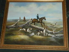 English fox hunt, hunting dogs, horses, British landscape painting