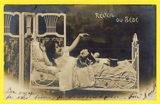 cpa FANTAISIE Dos 1900 NOËL SANTA CLAUS Jouets Toys REVEIL du BÉBÉ Doll Poupée