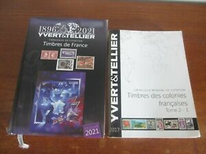 LOT OCCASION 2 CATALOGUES YVERT & TELLIER FRANCE 2021+ COLONIES 2017 VOIR SCANS
