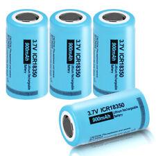 4x ICR18350 900mAh 3.7V Li-ion Rechargeable Lithium Batteries Flat Top Fast Ship
