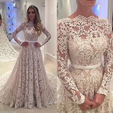 New Fashion Lace Long Sleeve Wedding Dress White Ivory Bridal Gown Custom 4-28++