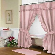 """Carnation Home """"Lauren"""" Double Swag Shower Curtain Rose"""