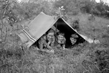 Vintage photo negativo - 1930-Young-cute-Boy - Teen-when camping with mom-1
