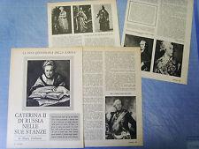 HISTORIA962-RITAGLIO/CLIPPING/NEWS-1962- CATERINA II DI RUSSIA -4 fogli