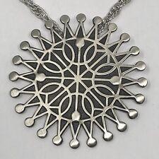 Mid Century Starburst Necklace 30in Bell Trading Vtg Nickel Silver Sunburst Big