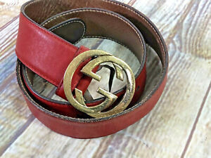 vtg GUCCI red leather belt gold logo buckle womens sz S/35''