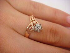 14K ROSE GOLD RUSSIAN ORIGIN VINTAGE V-SHAPE LADIES RING WITH 0.16 CARAT DIAMOND