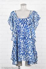Jessica Simpson woman's top size XS blue white side ruffle short dress casual