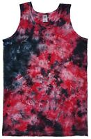 Black & Red TIE DYE VEST Tank Top Hipster Tye Die T shirt Festival Rainbow Tee