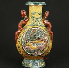 Super Chinese Old Jingdezhen Porcelain Collectable Handwork Carved Dragon Vase N