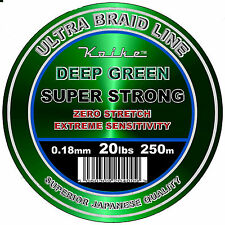 250 metre spools of 20lb Braid Deep Green Premium for CARP or SEA SPINNING