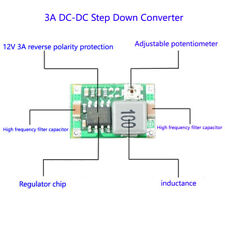 DC-DC Buck Step Down Module 3.3V 5V 9V 12V 3A Adjustable Voltage Regulator Power