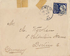 Stamp NSW 2&1/2d blue on cover sent from Sydney to Berlin Germany