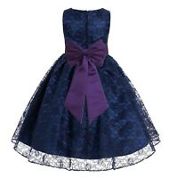 Navy Lace Flower Girl Dress Special Occasion Dress Wedding Pageant Dress Baptism