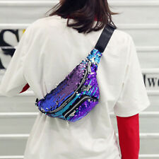 Reversible Mermaid Sequins Glitter Waist Bag Sports Fanny Pack Pouch Hip Purse