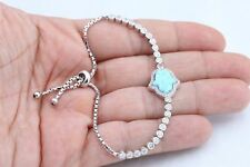 Hamsa Hand Turkish Jewelry Turquoise Topaz 925 Sterling Silver Tennis Bracelet