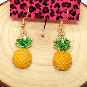 Hot Yellow Enamel Cute Pineapple Crystal Girl Betsey Johnson Women Stand Earring
