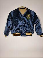 Federal Aviation Administration Jacket Blue Bomber Satin Mens Size XL Vintage
