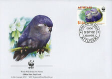 WWF  UCCELLI  FDC ISOLE AITUTAKI BUSTA PRIMO GIORNO 2002 PAPPAGALLI  4/4
