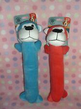Set Of Two Dog Puppy Plush Monkeys Squeaky Animals Toy Set New!