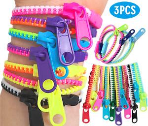 3 Zipper Bracelets Sensory Fidget Zip Stress Anxiety Relief Stim Toy Autism ADHD