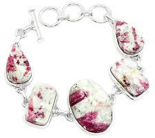 Pink Tourmaline In Quartz 925 Sterling Silver Bracelet Jewelry PTQB8