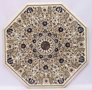 Indian Table Antique Marble Semi precious stones Hand crafted Incrustation India