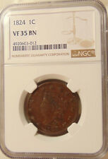 1824 Large Cent - NGC VF35 - N-2 - Sharp Looking Brown Coin - FREE SHIPPING