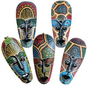 African Mask Aboriginal Hand Painted Carved Wall Plaque Decortive Wooden Tribal