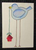 "BLUE BIRD with Flower 5x7"" Original Greeting Card Art"