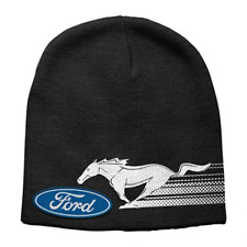 Ford Mustang Logo Kids Youth Black Printed Acrylic Beanie One Size