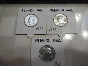 Lot of 3-1964D Washington Quarters-BU