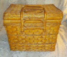 "Vintage woven reed picnic basket, 10"" x 10"" x 12"""