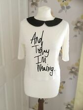 RIVER ISLAND 'AND TODAY I'M WEARING' FUR COLLAR T-SHIRT - UK SIZE 8