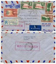 CEYLON REGISTERED KG6 MULTI FRANKING AIRMAIL ENVELOPE MANUFACTURERS LIFE 1947
