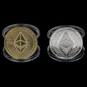 2Pcs Gold silver etherium Coins Commemorative 2021 New Collectors Plated