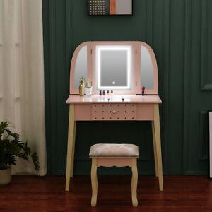Pink Dressing Table Stool Vanity Set Makeup Desk w/ LED Mirror & Drawer Bedroom