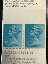 1972 Great Britain stamp Qe ll 1/2P Turqoise Pair in booklet Mnh