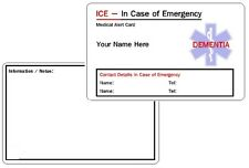Dementia ICE - In Case of Emergency - Medical Alert ID Card .
