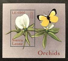 SIERRA LEONE ORCHIDS SOUVENIR SHEET 2000 MNH FLOWERS BUTTERFLY STAMPS WILDLIFE
