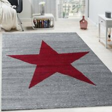 Grey Star Rug Teenager Pattern Carpet Bedroom Low Pile Mats Grey Red Small Large