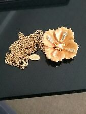 Vintage Joan Rivers Collection Pale Orange Flower and Crystal pendant/pin signed