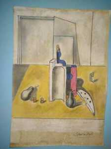 Salvador Dalí mixed media drawing on cardboard hand made signed & stamped