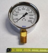 New listing Wika 2000 Psi Gauge 4 Inch 1/2 Npt Lower Mount Liquid Filled