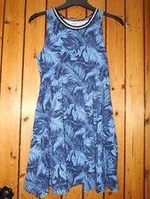 Women's Victoria's Secret 'Pink' High Neck Blue Palm Print Skater Dress Small 8