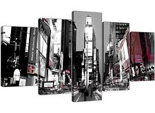 Large Times Square New York Canvas Prints 5 Panel in Black and White