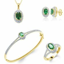 4.85ct Created Emerald Yellow Gold Plated Ring Necklace Bracelet Earrings Set