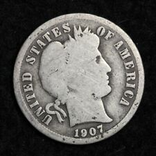 Coin 1.00 Shipping 1907 Antique Solid Date Vintage Silver Barber Dime Ten Cent Piece Authentic U.S